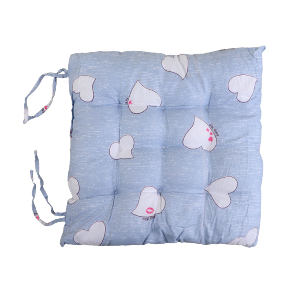 Soft Chair Cushion With Attractive Square Design With Hearts Drawings Blue متجر 15 وأقل