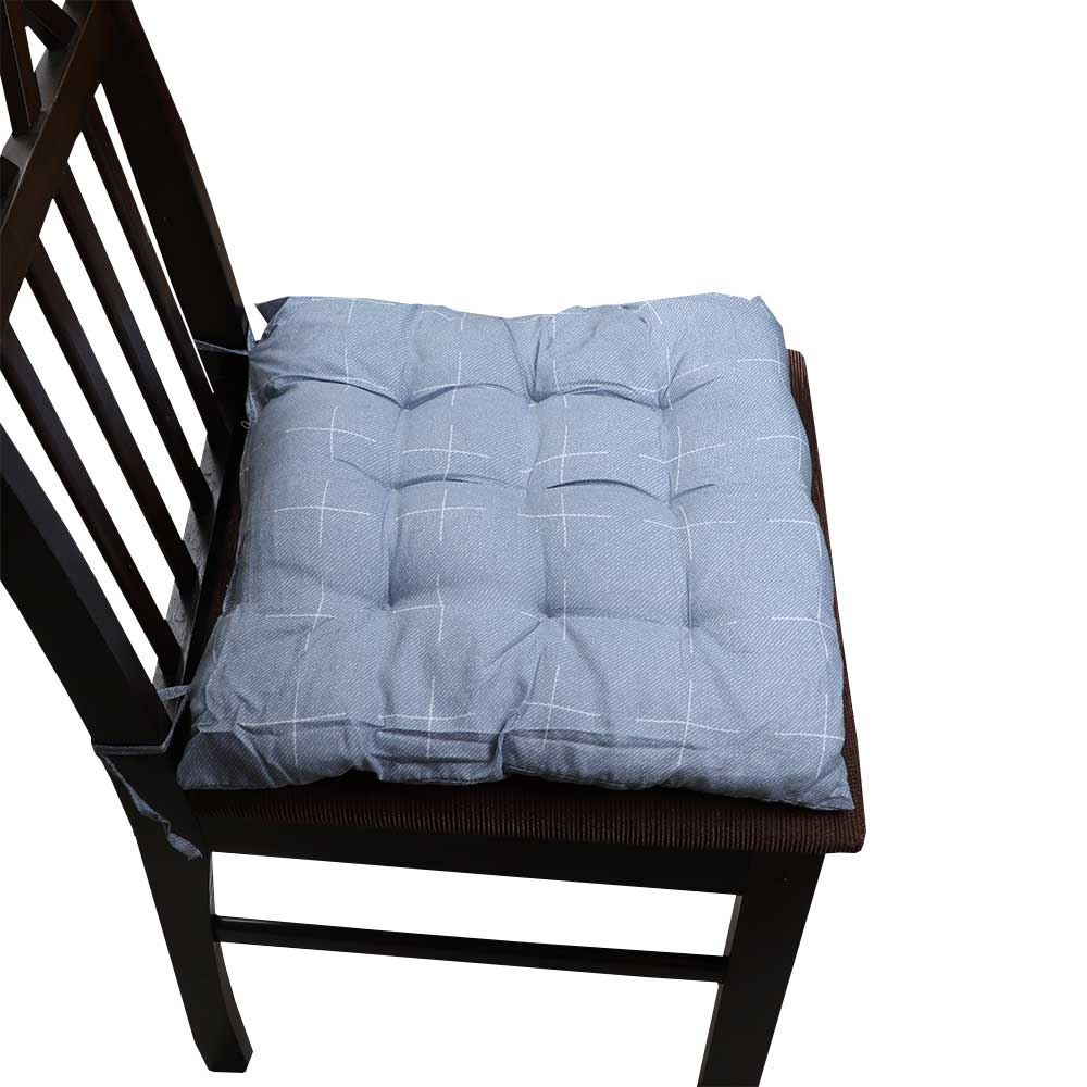 Soft Chair Cushion With Attractive Square Design With Lines Drawings Blue متجر 15 وأقل