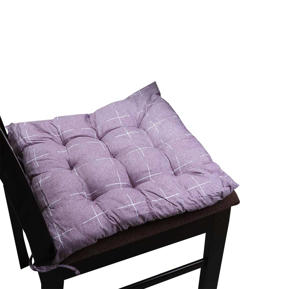 Soft Chair Cushion With Attractive Square Design With Lines Drawings Dark Purple متجر 15 وأقل