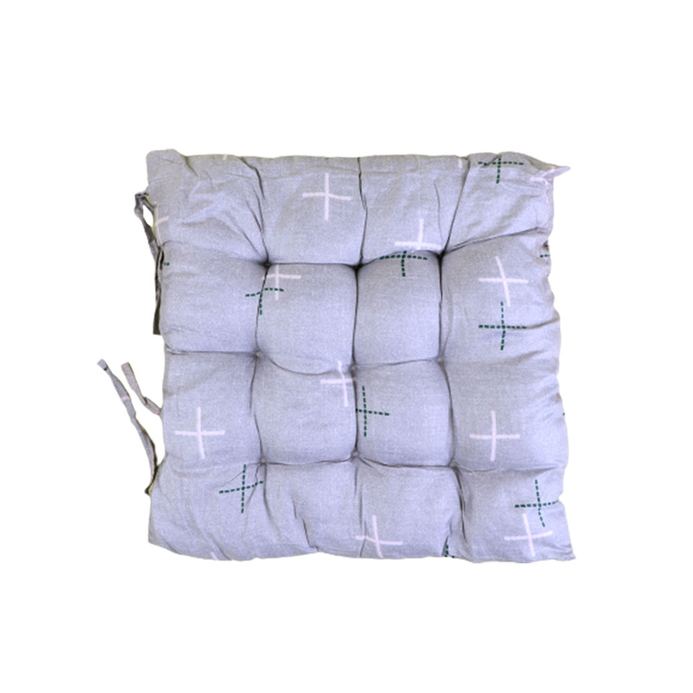 Soft Chair Cushion With Attractive Square Design With Lines Drawings Gray متجر 15 وأقل