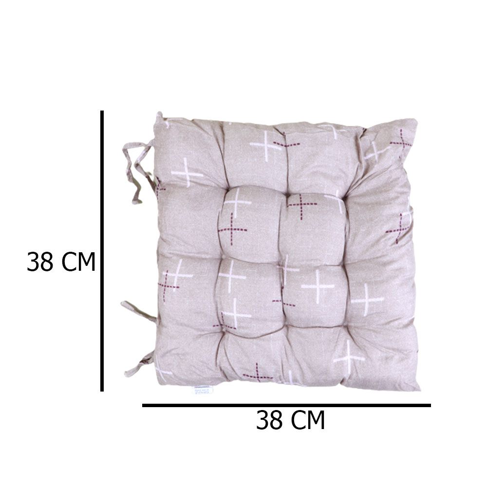 Soft Chair Cushion With Attractive Square Design With Lines Drawings Beige متجر 15 وأقل