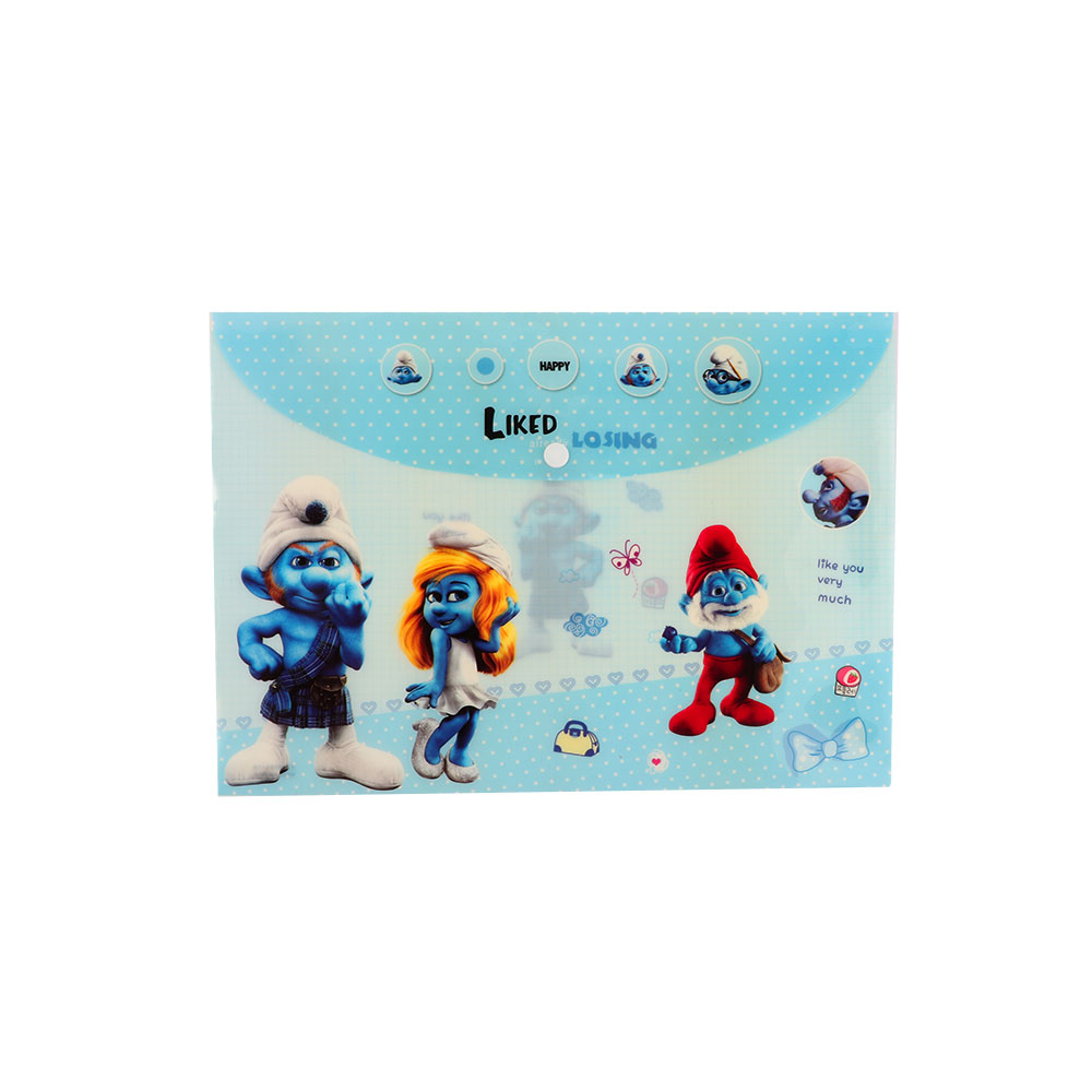 Plastic File To Keep Sheets Lockable With Smurfs Characters Blue متجر 15 وأقل