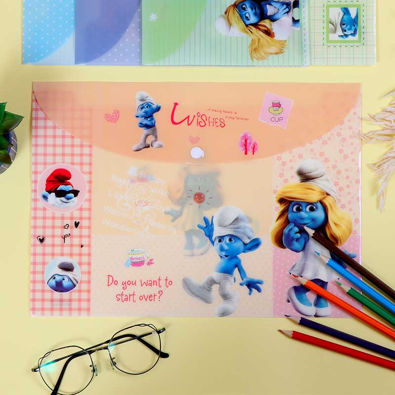 Plastic File To Keep Paper Lockable With Smurfs Characters Orange متجر 15 وأقل