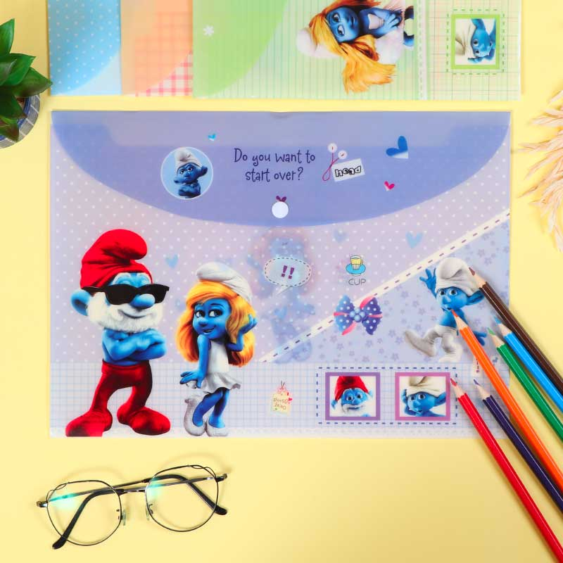 Plastic File To Keep Sheets Lockable With Smurfs Characters Purple متجر 15 وأقل