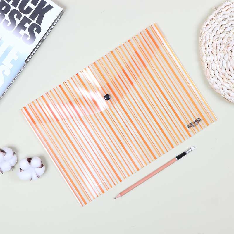 ملف بلاستيكي لحفظ الأوراق قابل للغلق شفاف بخطوط برتقالي متجر 15 وأقل