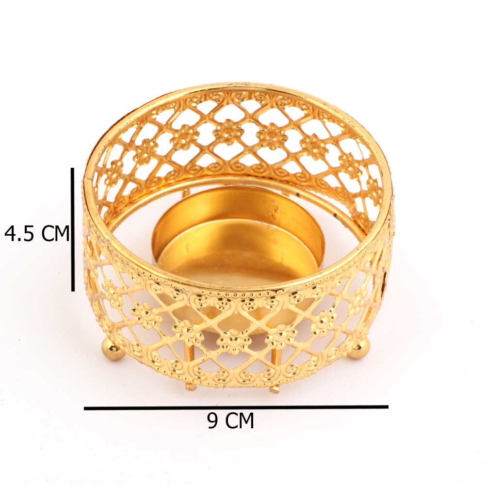 Candle Holder - Golden Circular Candle Holder With Flower Side Decoration And Inscriptions متجر 15 وأقل