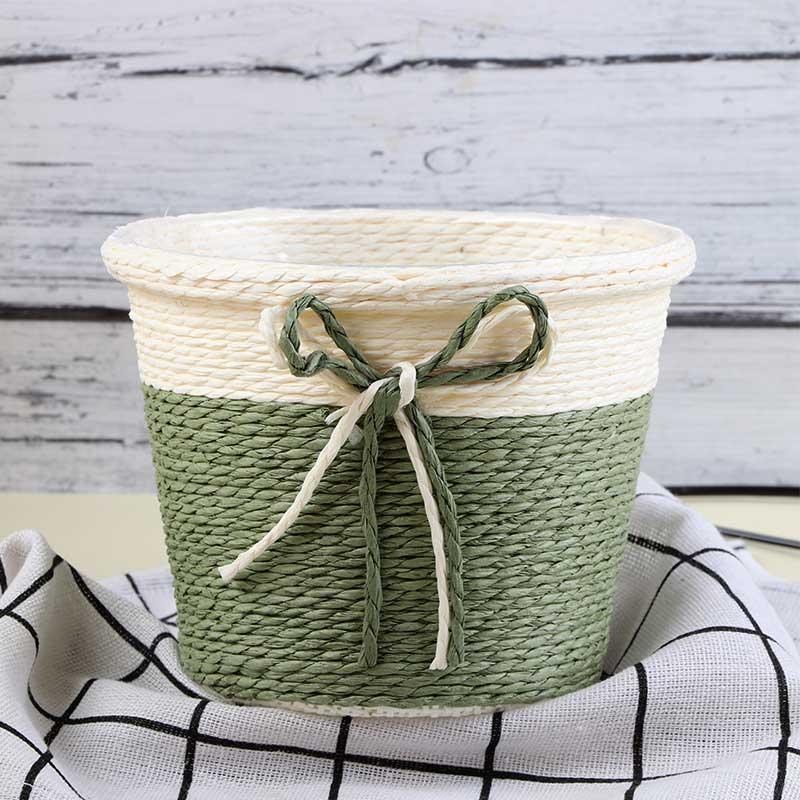 Circular Pottery Vase Multi Use In Beige - Green متجر 15 وأقل