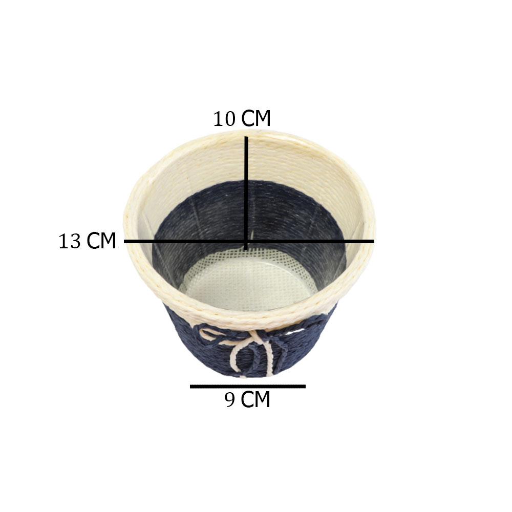 مزهرية خزف دائرية وسط متعددة الاستخدام بلون بيج - أزرق متجر 15 وأقل