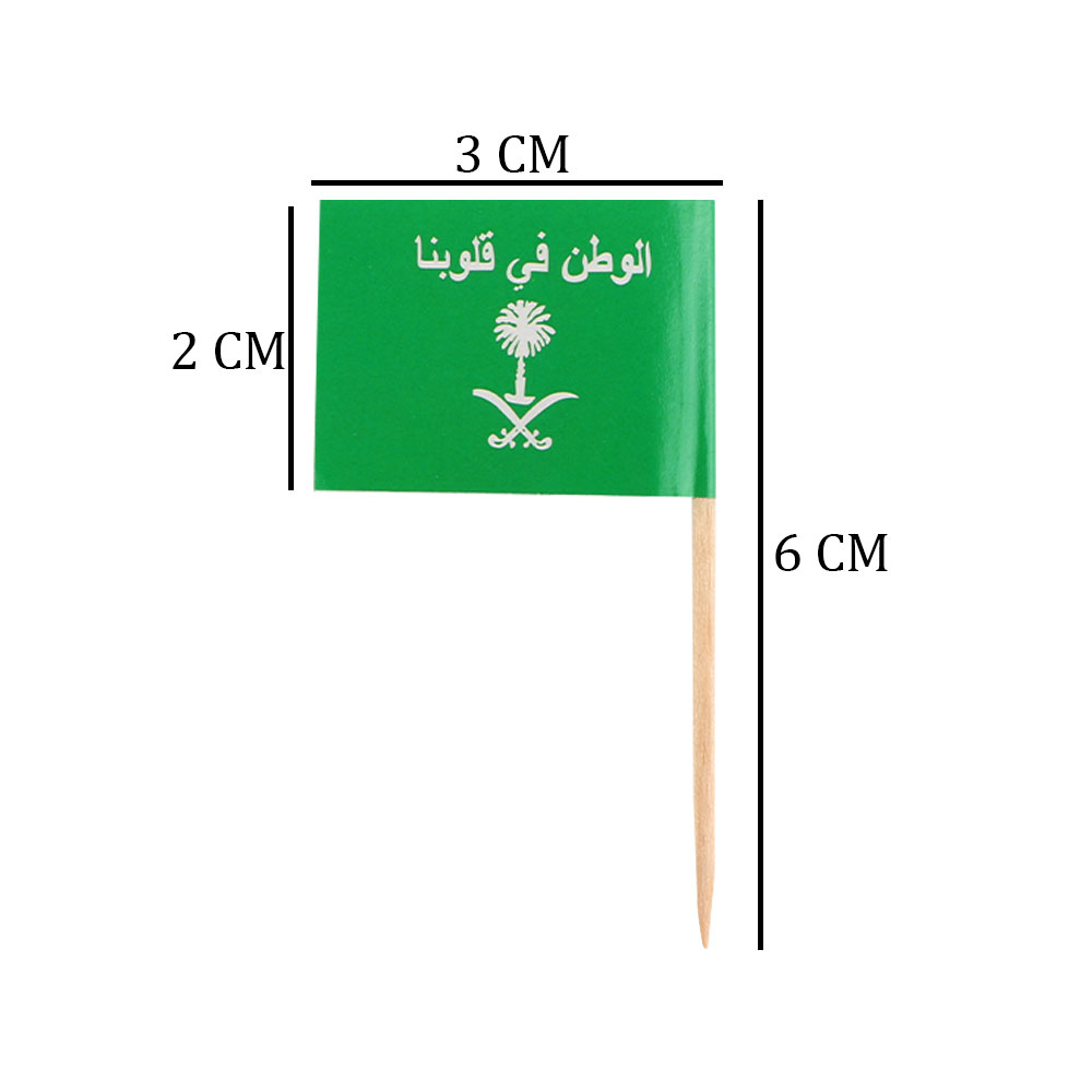 Wooden Sticks With Miniature Paper Flags For The Saudi National Day 100 Pcs - white متجر 15 وأقل