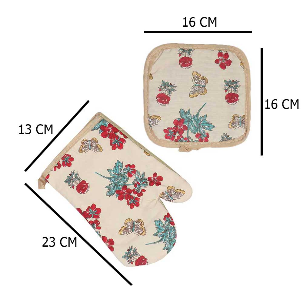 Heat Proof Glove Set With 2 Pcs Hand Glove And Holder In Rose and Butterfly Beige - Red متجر 15 وأقل