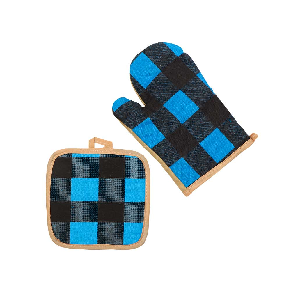 Heat Proof Glove Set With 2 Pcs Hand Glove And Holder With Checks Black-Blue متجر 15 وأقل