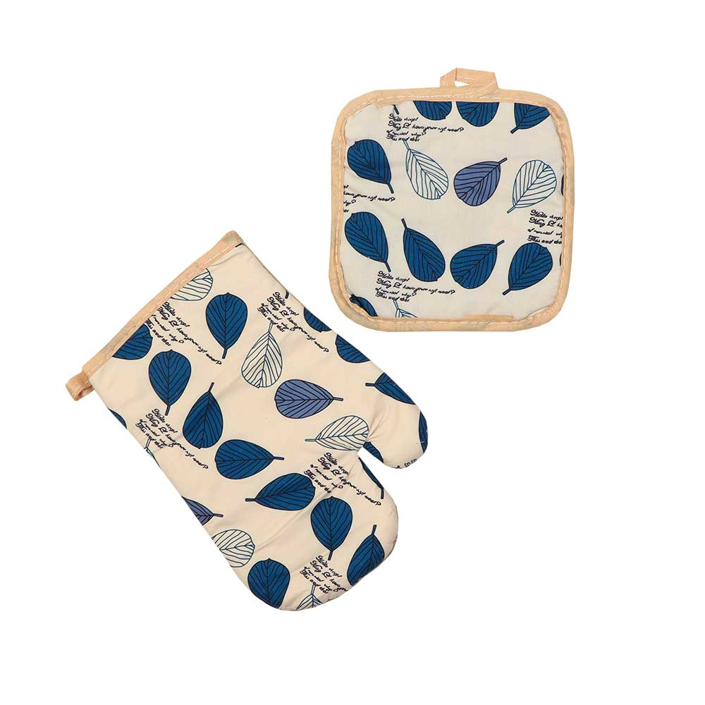 Heat Proof Glove Set With 2 Pcs Hand Glove And Holder With Tree Leaves - Blue متجر 15 وأقل