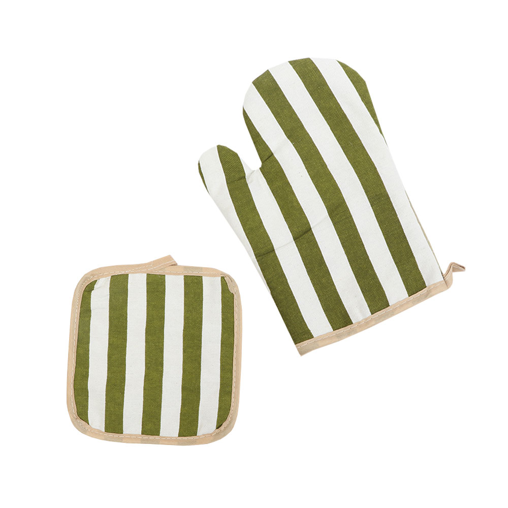 Heat Proof Glove Set With 2 Pcs Hand Glove And Holder With Lines Green - White متجر 15 وأقل