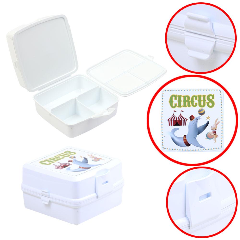 صندوق بلاستيكي لحفظ غذاء الأطفال مقسم من الداخل مع ملعقة و شوكة - أبيض متجر 15 وأقل
