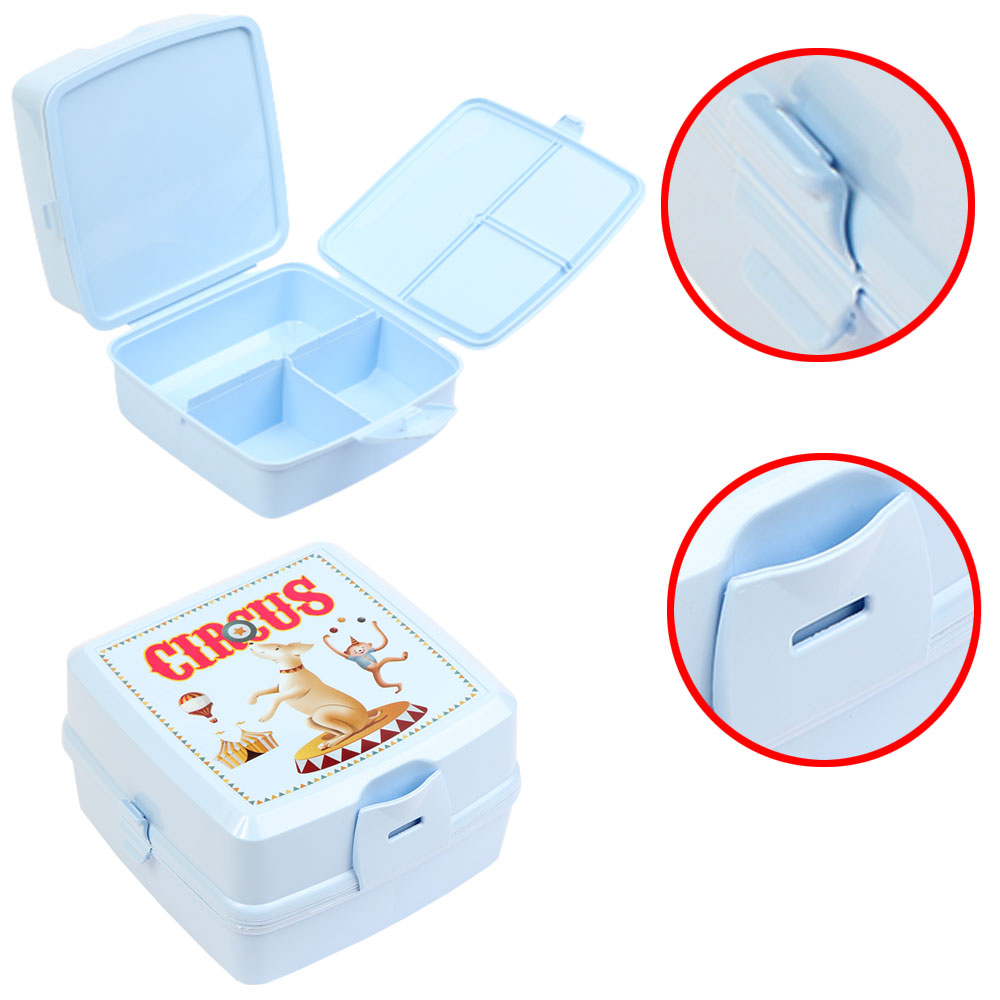 Plastic Lunch Box To Keep Children Food Divided From Inside With Spoon And Fork - Blue متجر 15 وأقل