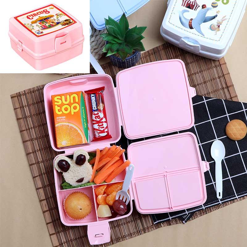 صندوق بلاستيكي لحفظ غذاء الأطفال مقسم من الداخل مع ملعقة و شوكة - وردي متجر 15 وأقل