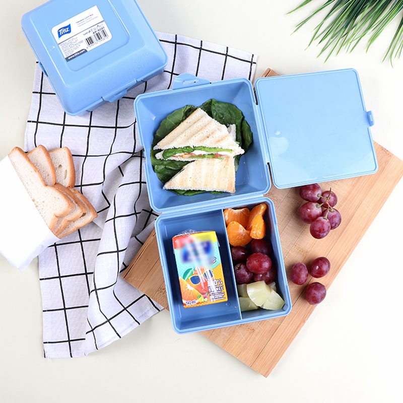Plastic Lunch Box For Children Divided From Inside - Blue متجر 15 وأقل