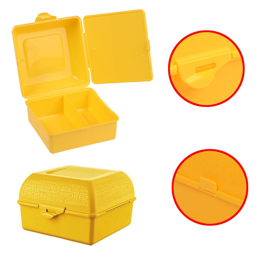 صندوق بلاستيكي لحفظ غذاء الأطفال مقسم من الداخل - أصفر متجر 15 وأقل