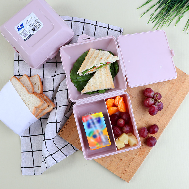 Plastic Lunch Box To Keep Children Food Divided From Inside - Purple متجر 15 وأقل
