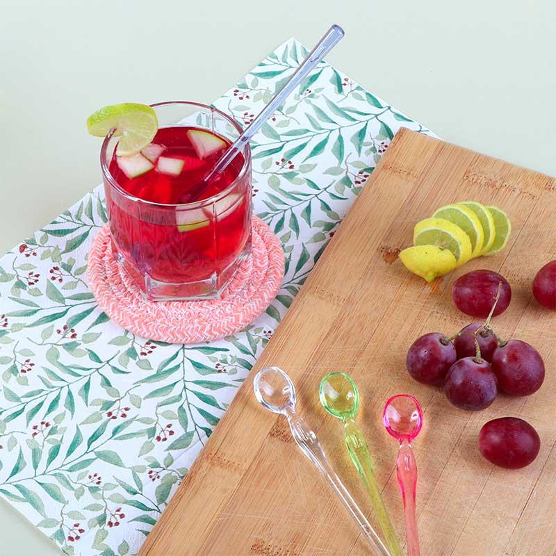 Set Of 4 Plastic Spoons 16.2 cm Long Multi Colored To Move Liquids متجر 15 وأقل