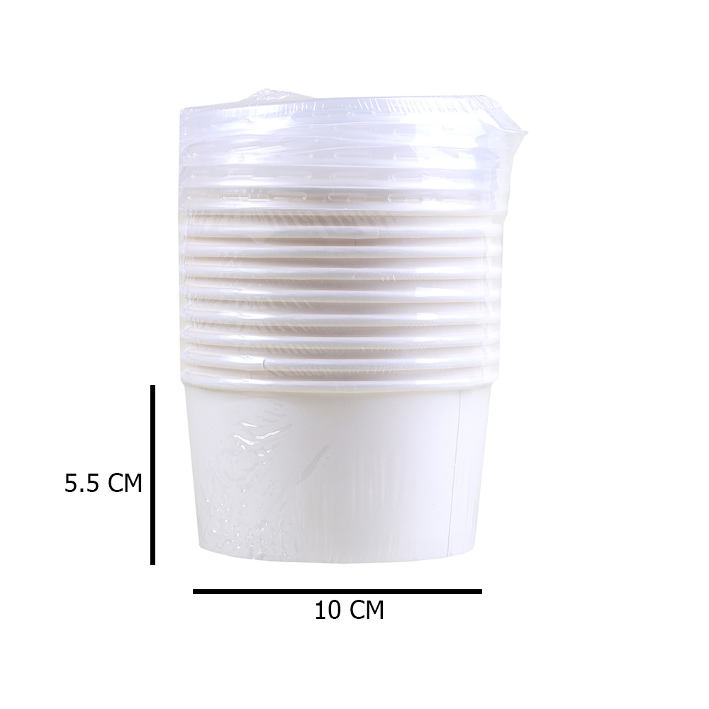 Alya White Paper Bowl 250 Mm With Transparent Color Cover To Close 10 Pcs متجر 15 وأقل