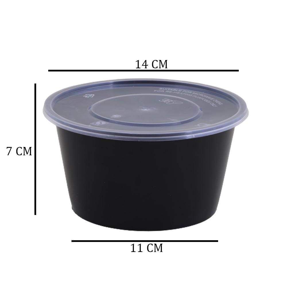 Black Circular Plastic Container With Transparent Lid 1000g 4Pcs متجر 15 وأقل